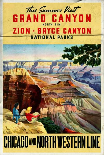 Zion Mixed Media - Visit Grand Canyon - Folded by Vintage Advertising Posters
