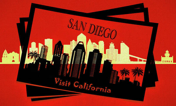 Traveler Mixed Media - Visit San Diego California Postcard by Dan Sproul