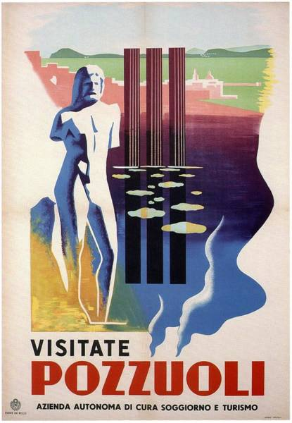 Statue Mixed Media - Visitate Pozzuoli, Metropolitan City Of Naples, Italy - Retro Travel Poster - Vintage Poster by Studio Grafiikka