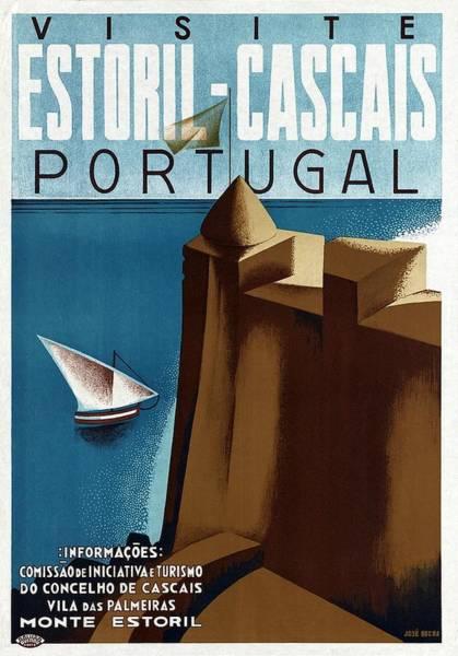 Sailboat Mixed Media - Visite Estoril-cascais Portugal - Sailboat - Retro Travel Poster - Vintage Poster by Studio Grafiikka