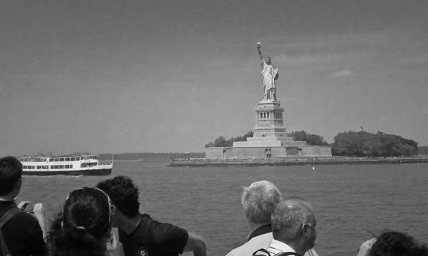 Photograph - Visiting Lady Liberty Bw by David Coblitz