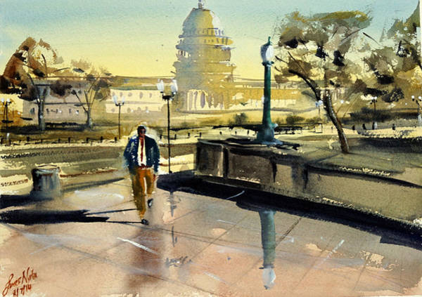Washington D.c Painting - Visiting The Library Of Congress by James Nyika