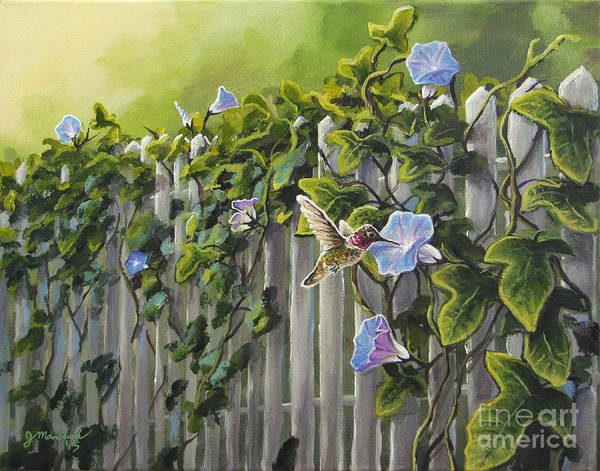 White Picket Fence Painting - Visiting The Morning Glories by Joe Mandrick
