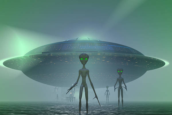 Extraterrestrial Digital Art - Visitors by Carol and Mike Werner