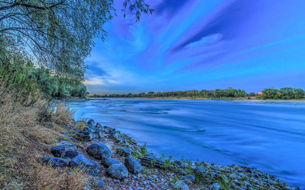 Photograph - Vistula At Blue Hour Riverscape With Stones by Julis Simo