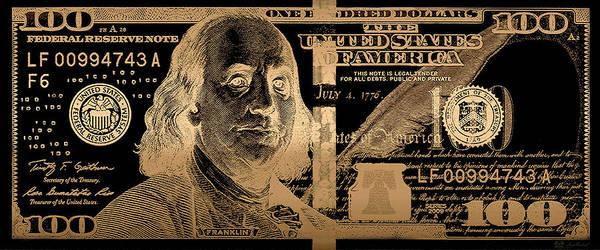 Digital Art - One Hundred Us Dollar Bill - $100 Usd In Gold On Black by Serge Averbukh