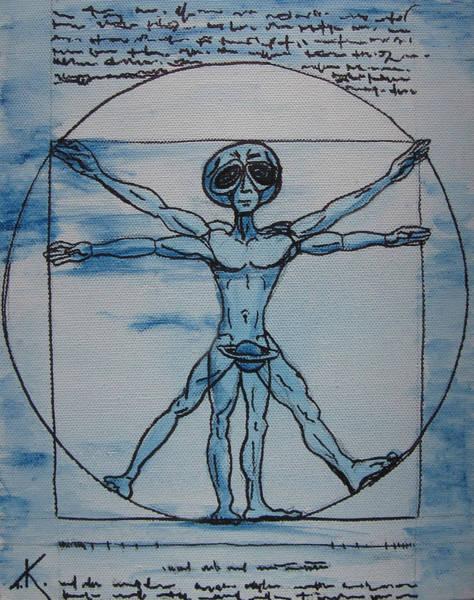Painting - Vitruvian Alien by Similar Alien