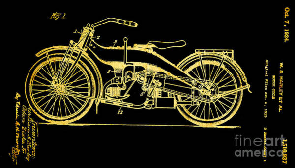 Wall Art - Photograph - Black And Gold Texture Harley Motorcycle Patent 1924 by John Stephens