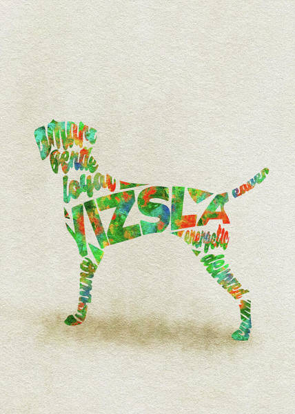 Painting - Vizsla Watercolor Painting / Typographic Art by Inspirowl Design