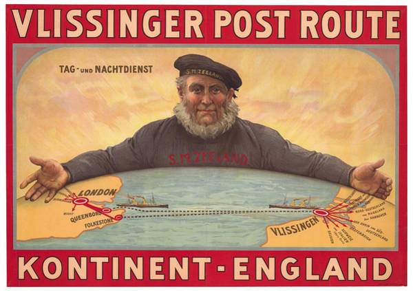 Wall Art - Drawing - Vlissinger Post Route - Zeeland Maritime Company Poster - London To Flushing Ship Route by Studio Grafiikka
