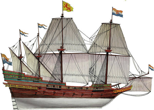 Wall Art - Painting - Voc Galleon by The Collectioner