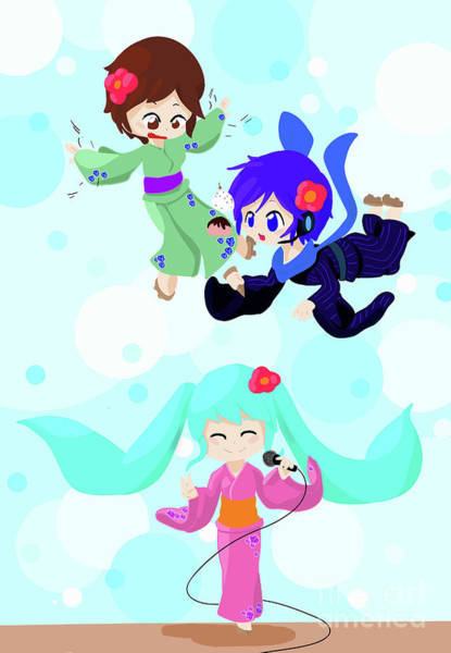 Yukata Digital Art - Vocaloids Falling by Katrina Ely