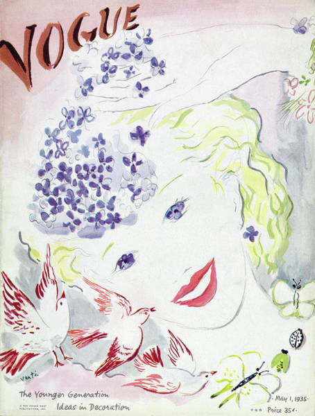 Wildlife Photograph - Vogue Cover Illustration Of A Blonde Woman by Marcel Vertes