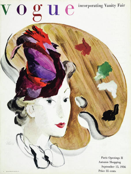 Colorful Photograph - Vogue Cover Illustration Of A Woman And A Palette by Rene Bouet-Willaumez