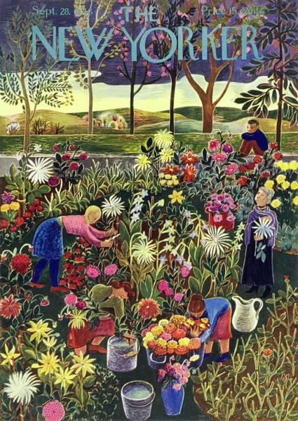 Gardening Drawing - New Yorker September 28 1946 by Ilonka Karasz