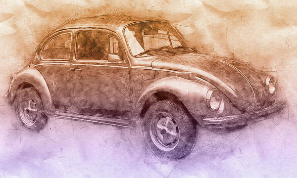 Wall Art - Mixed Media - Volkswagen Beetle 2 - Beetle - Economy Car - 1938 - Automotive Art - Car Posters by Studio Grafiikka