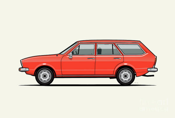 Wagon Digital Art - Volkswagen Dasher Wagon / Vw Passat B1 Variant by Monkey Crisis On Mars