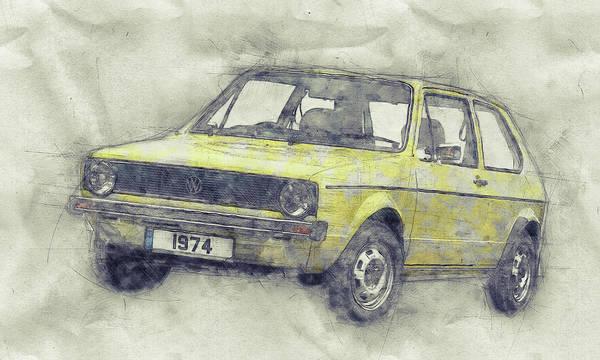 Wall Art - Mixed Media - Volkswagen Golf 1 - Small Family Car - 1974 - Automotive Art - Car Posters by Studio Grafiikka