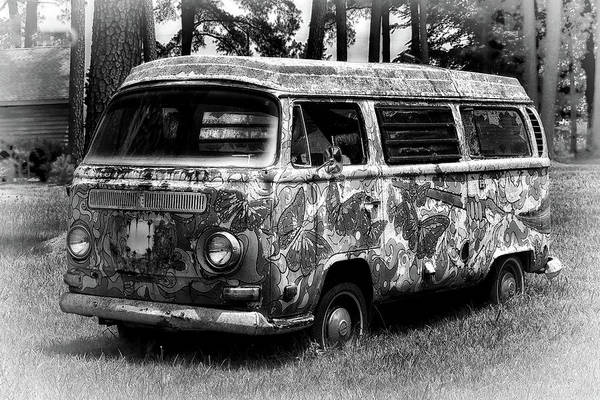 Photograph - Volkswagen Microbus Nostalgia In Black And White by Bill Swartwout Photography