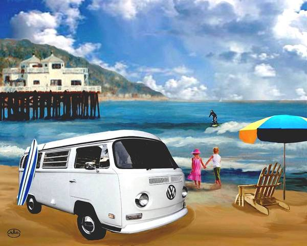 Wall Art - Painting - Volkswagen On The Beach by Ron Chambers