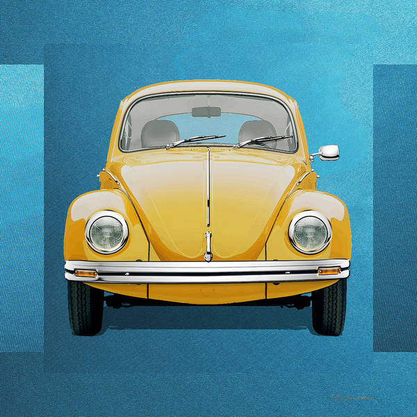 Digital Art - Volkswagen Type 1 - Yellow Volkswagen Beetle On Blue Canvas by Serge Averbukh