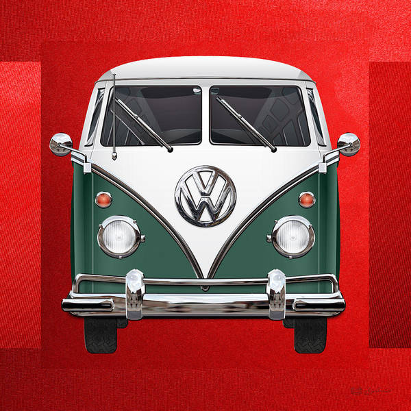 Digital Art - Volkswagen Type 2 - Green And White Volkswagen T 1 Samba Bus Over Red Canvas  by Serge Averbukh