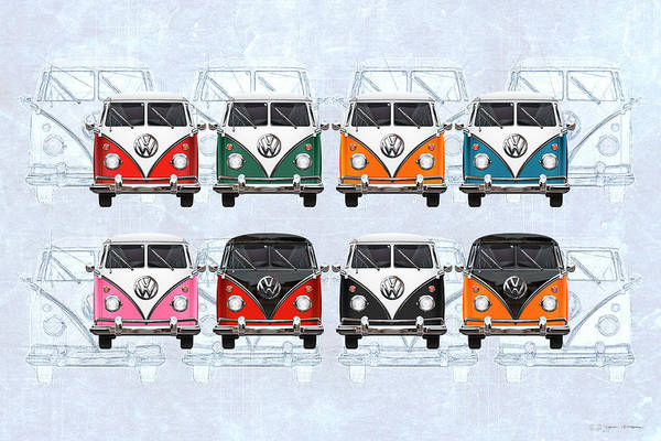 Digital Art - Volkswagen Type 2 - Variety Of Volkswagen T1 Samba Buses On Vintage Background  by Serge Averbukh