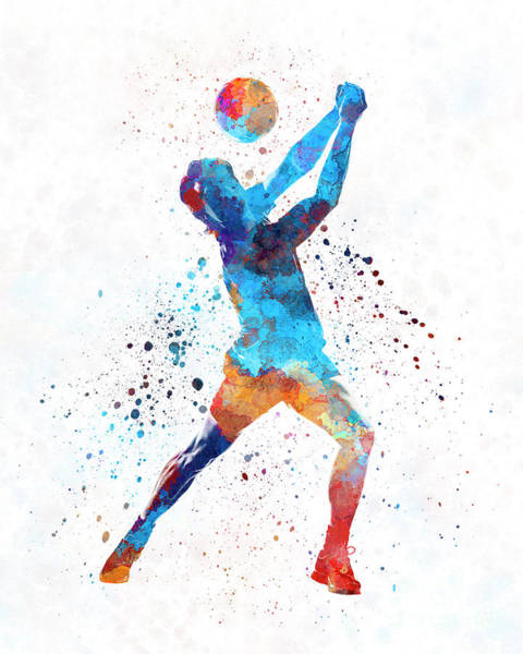 Volley Painting - Volley Ball Player Man 01 In Watercolor by Pablo Romero
