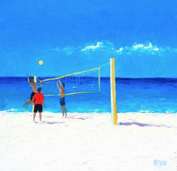 Volley Painting - Volleyball Beach Painting by Jan Matson