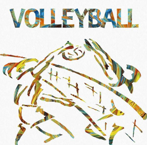 Painting - Volleyball Paint Poster by Dan Sproul