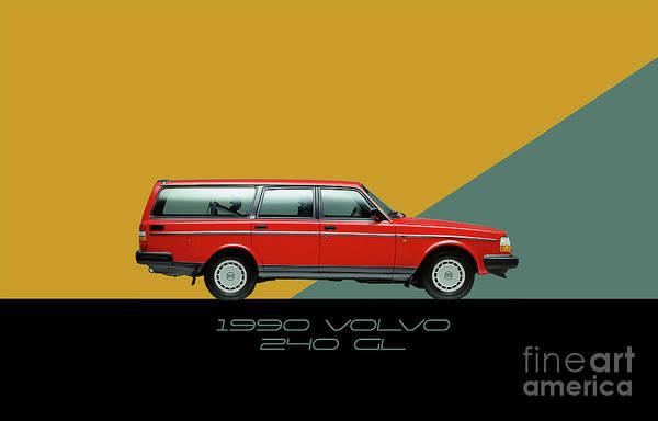 Wagon Digital Art - Volvo 240 Wagon  by Daniel Gunitskiy