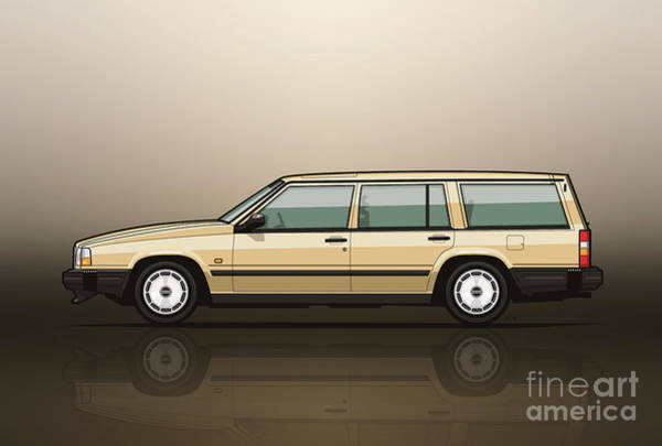 Wall Art - Digital Art - Volvo 740 745 Wagon Gold by Monkey Crisis On Mars