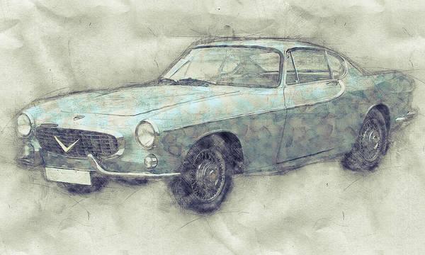 Wall Art - Mixed Media - Volvo P1800 - Sports Car 1 - Automotive Art - Car Posters by Studio Grafiikka
