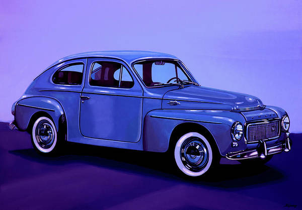 Vintage Automobiles Mixed Media - Volvo Pv 544 1958 Mixed Media by Paul Meijering