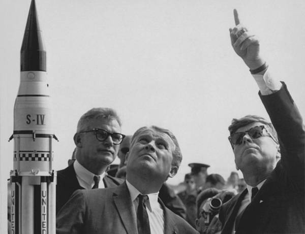 President Photograph - Von Braun And Jfk Looking Towards The Sky by War Is Hell Store