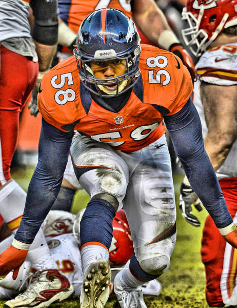 Game Painting - Von Miller Broncos Art 4 by Joe Hamilton