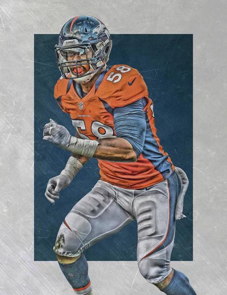 Wall Art - Painting - Von Miller Denver Broncos Art 2 by Joe Hamilton