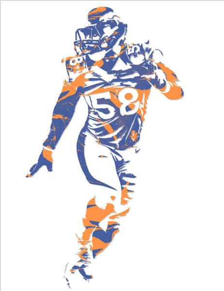Wall Art - Mixed Media - Von Miller Denver Broncos Pixel Art 10 by Joe Hamilton