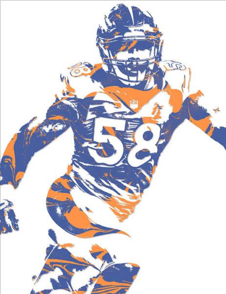 Wall Art - Mixed Media - Von Miller Denver Broncos Pixel Art 13 by Joe Hamilton