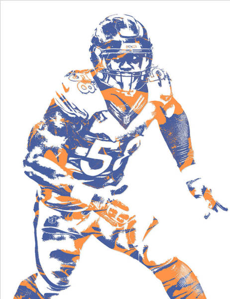 Wall Art - Mixed Media - Von Miller Denver Broncos Pixel Art 20 by Joe Hamilton