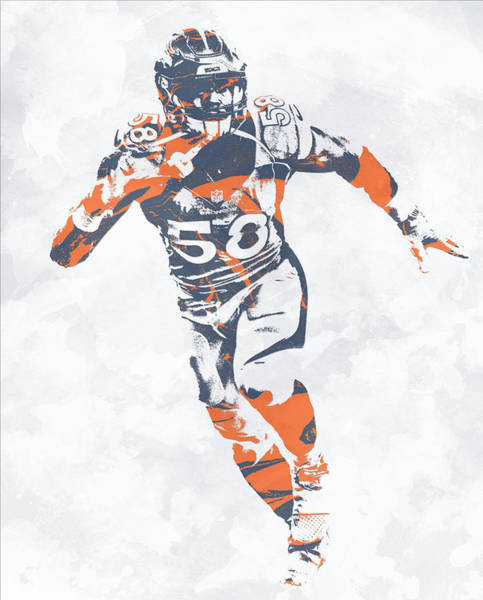 Wall Art - Mixed Media - Von Miller Denver Broncos Pixel Art 30 by Joe Hamilton