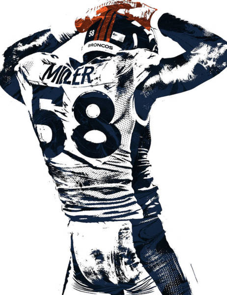 Super Bowl Mixed Media - Von Miller Denver Broncos Pixel Art 4 by Joe Hamilton