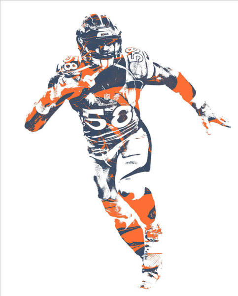 Wall Art - Mixed Media - Von Miller Denver Broncos Pixel Art 40 by Joe Hamilton
