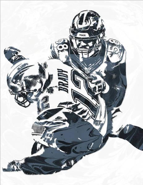 Wall Art - Mixed Media - Von Miller Denver Broncos Pixel Art 5 by Joe Hamilton