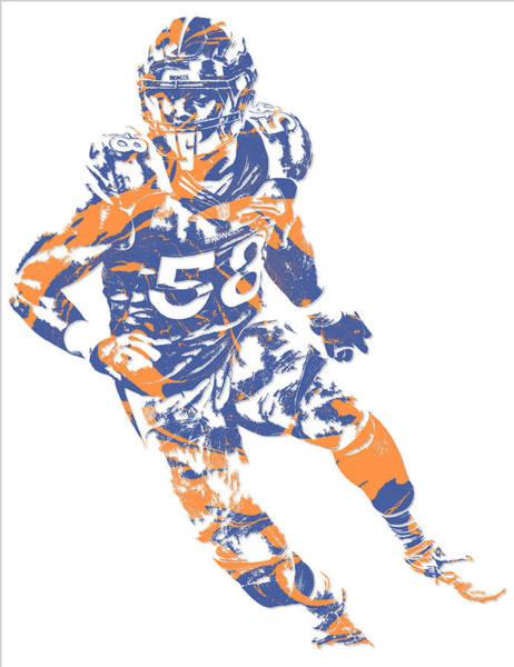 Wall Art - Mixed Media - Von Miller Denver Broncos Pixel Art 6 by Joe Hamilton