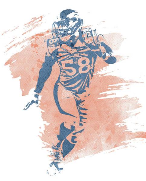 Wall Art - Mixed Media - Von Miller Denver Broncos Water Color Art 3 by Joe Hamilton