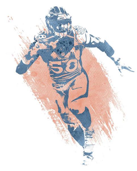 Wall Art - Mixed Media - Von Miller Denver Broncos Water Color Art 4 by Joe Hamilton