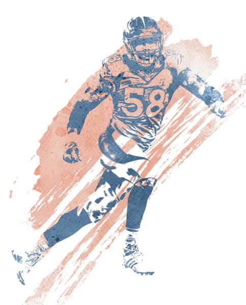 Wall Art - Mixed Media - Von Miller Denver Broncos Water Color Art 6 by Joe Hamilton