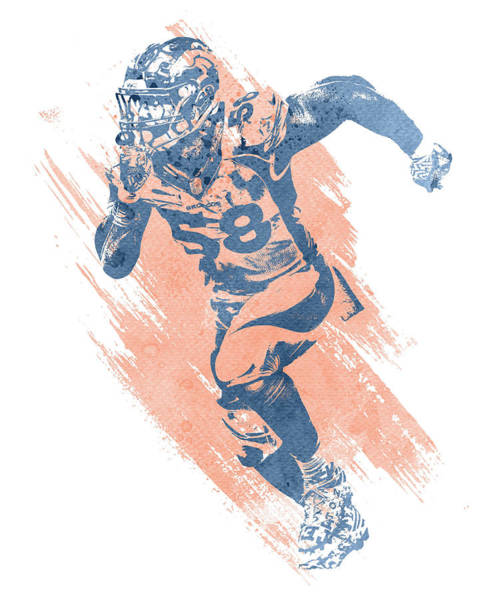 Wall Art - Mixed Media - Von Miller Denver Broncos Water Color Art 7 by Joe Hamilton