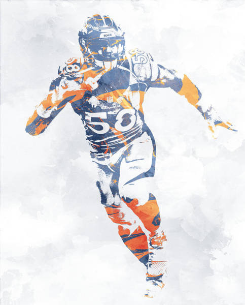 Wall Art - Mixed Media - Von Miller Denver Broncos Water Color Pixel Art 10 by Joe Hamilton